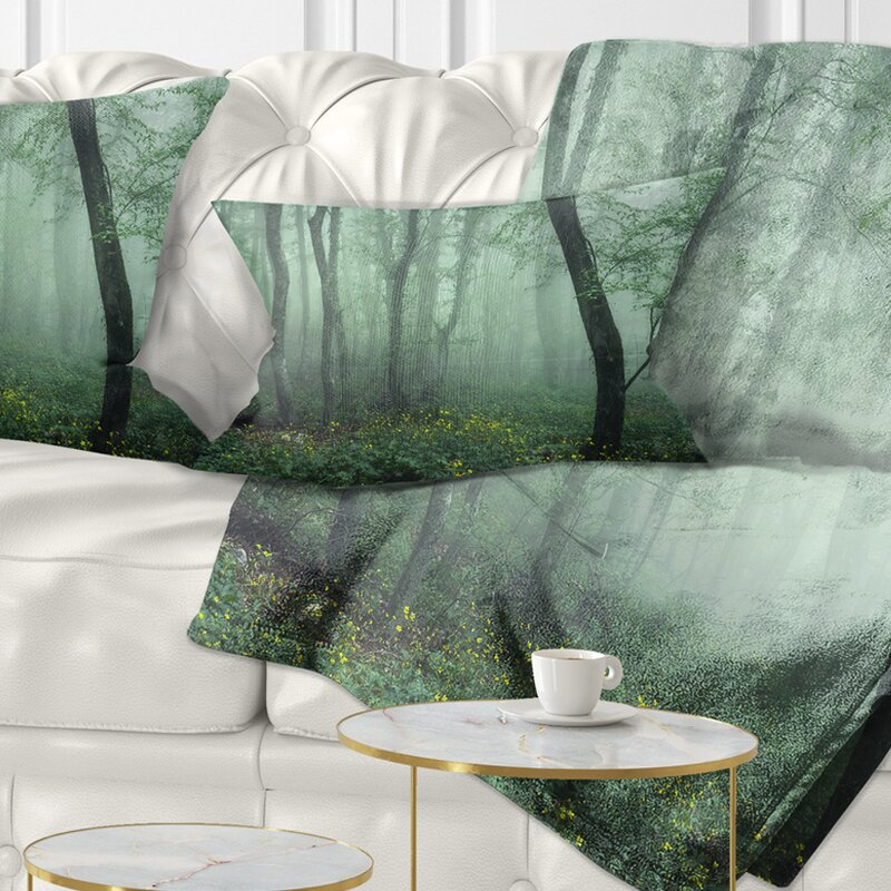 East Urban Home Landscape Trail Through Dark Foggy Forest Lumbar Pillow Wayfair