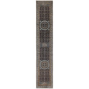 Inexpensive One-of-a-Kind Maarten Hand-Knotted Runner 2'8 x 13'3 Wool Blue/Black/Beige Area Rug By Isabelline