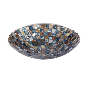 Check Prices Leighton Mosaic 2-Light Flush Mount By World Menagerie
