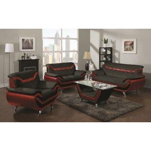 Amede 3 Piece Faux Leather Living Room Set by Orren Ellis