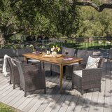 Pilger Outdoor Wicker Rectangular 7 Piece Dining Set with Cushions byGracie Oaks