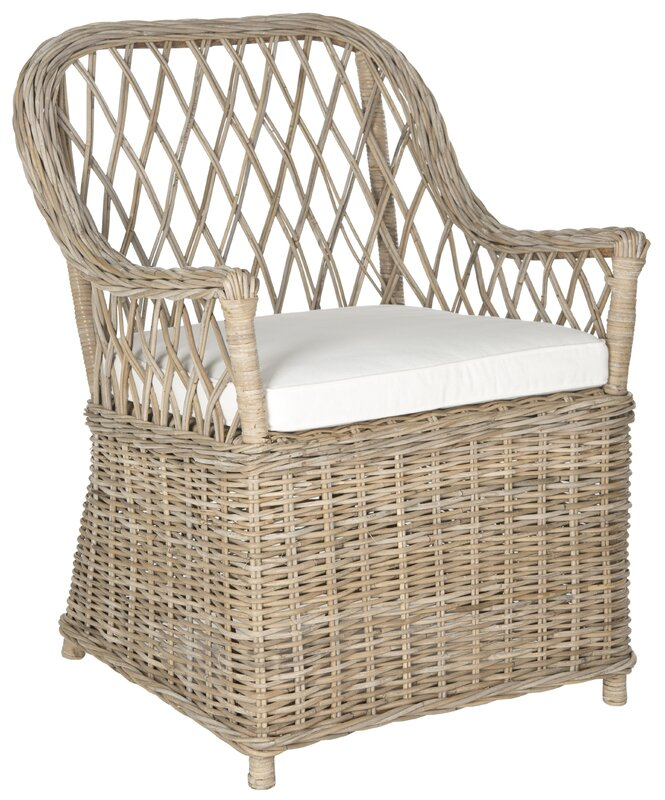 Light grey woven rattan Maluku Armchair #rattan #armchair #patiochair