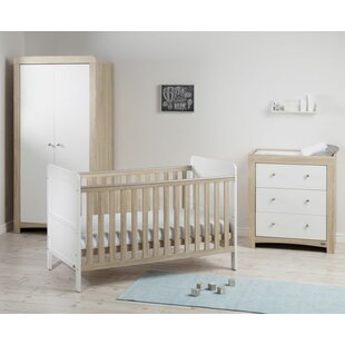 Fontana Ice Cot Bed 3 Piece Nursery Furniture Set
