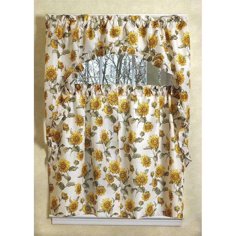 August Grove Yacine Sunflower Kitchen Curtain Set
