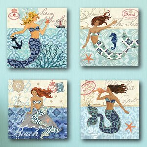 'Mermaid Blonde' 4 Piece Graphic Art on Wrapped Canvas Set by Highland Dunes