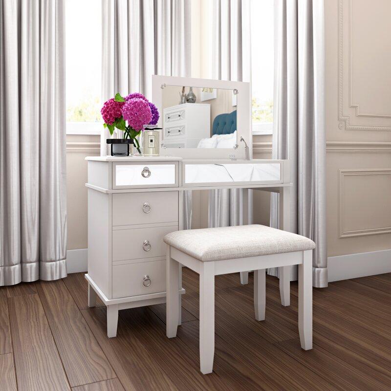 vanity desk.  Lighted Vanity Table Set Wayfair