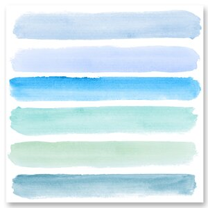 'Shades of Blue' Watercolor Painting Print on Wrapped Canvas by Benjamin Parker Galleries
