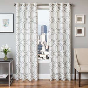 Sierra Geometric Grommet  Single Curtain Panel