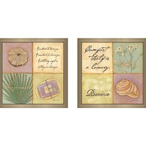 Heal, Revive, Escape' 2 Piece Framed Acrylic Painting Print Set Under Glass by Highland Dunes