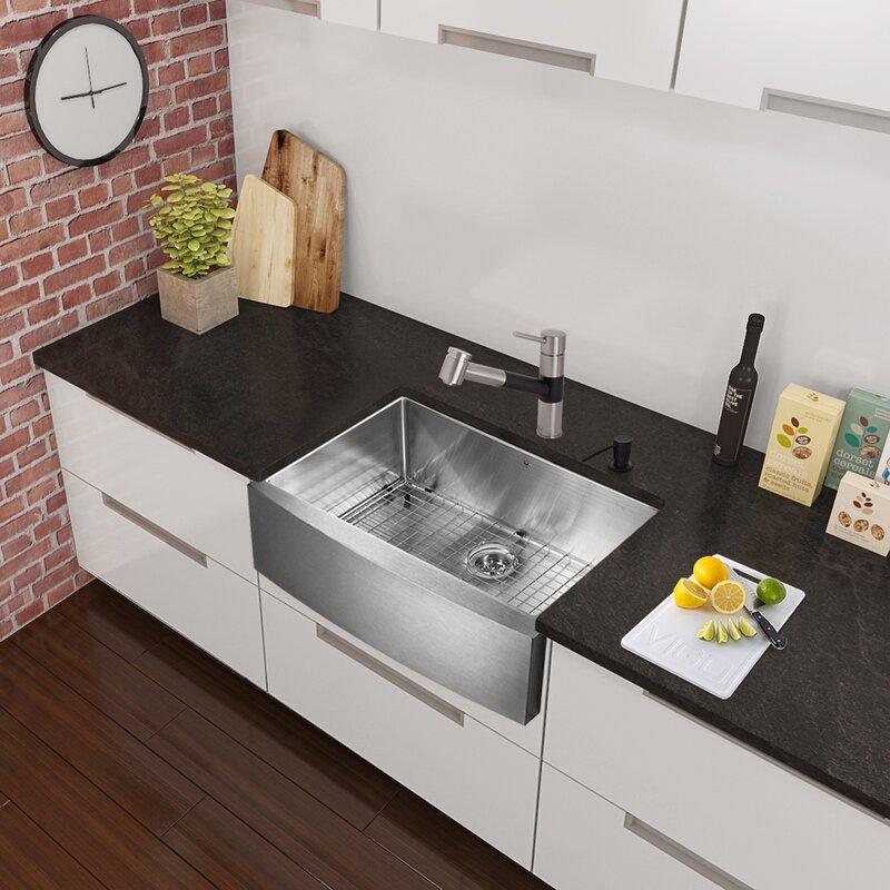 vigo branson single handle pull-out kitchen faucet & reviews | wayfair