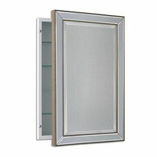 Weslaco Beaded 16 X 26 Recessed Framed Medicine Cabinet With 3 Adjule Shelves