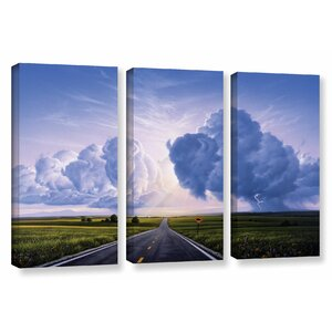'Buffalo' Crossing by Jerry Lofaro 3 Piece Painting Print on Wrapped Canvas Set by ArtWall
