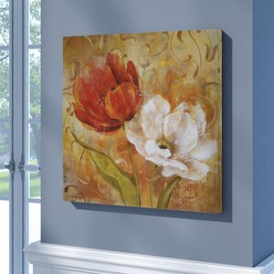 'Flower Duet II' Oil Painting Print on Wrapped Canvas by Andover Mills