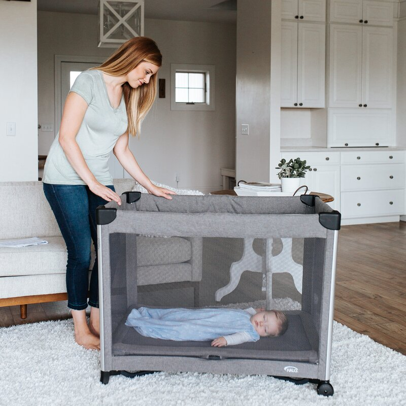 Halo Innovations Inc Dreamnest 3 In 1 Portable Crib Rocking Binet Travel Cot With Breathable Mesh Mattress Wayfair