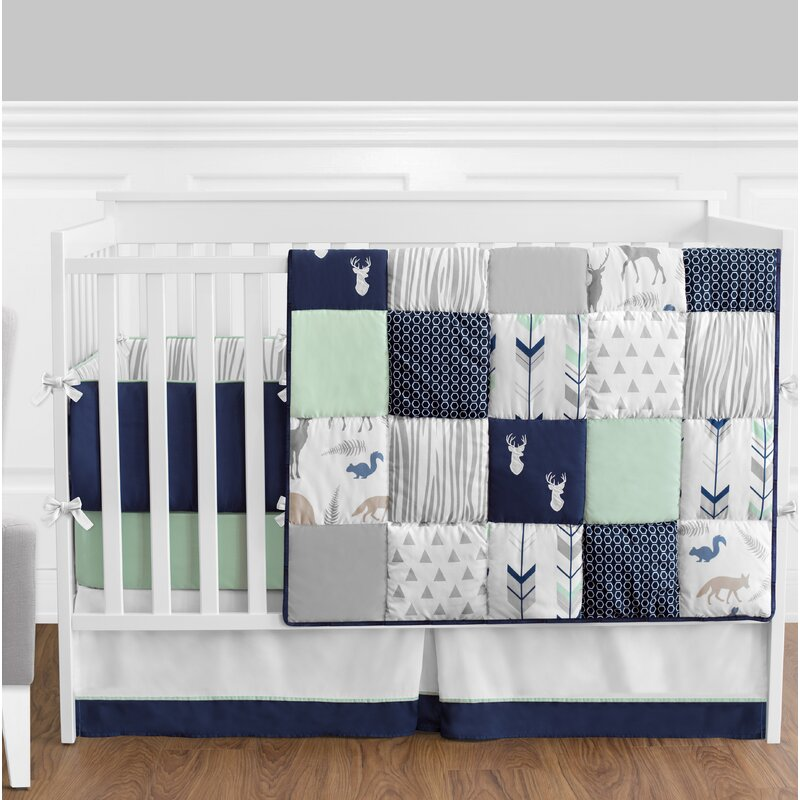 Woodsy 9 Piece Crib Bedding Set: Deer Crib Sheet Coral Gold At Alzheimers-prions.com