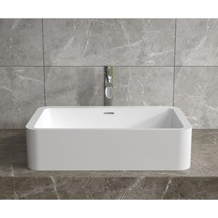Reviews Stone Rectangular Vessel Bathroom Sink with Overflow By InFurniture