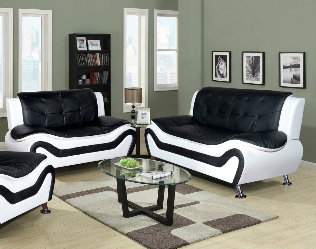 Incroyable Crocker 2 Piece Leather Living Room Set