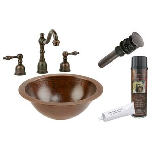 Hammered Metal Circular Undermount Bathroom Sink With Faucet