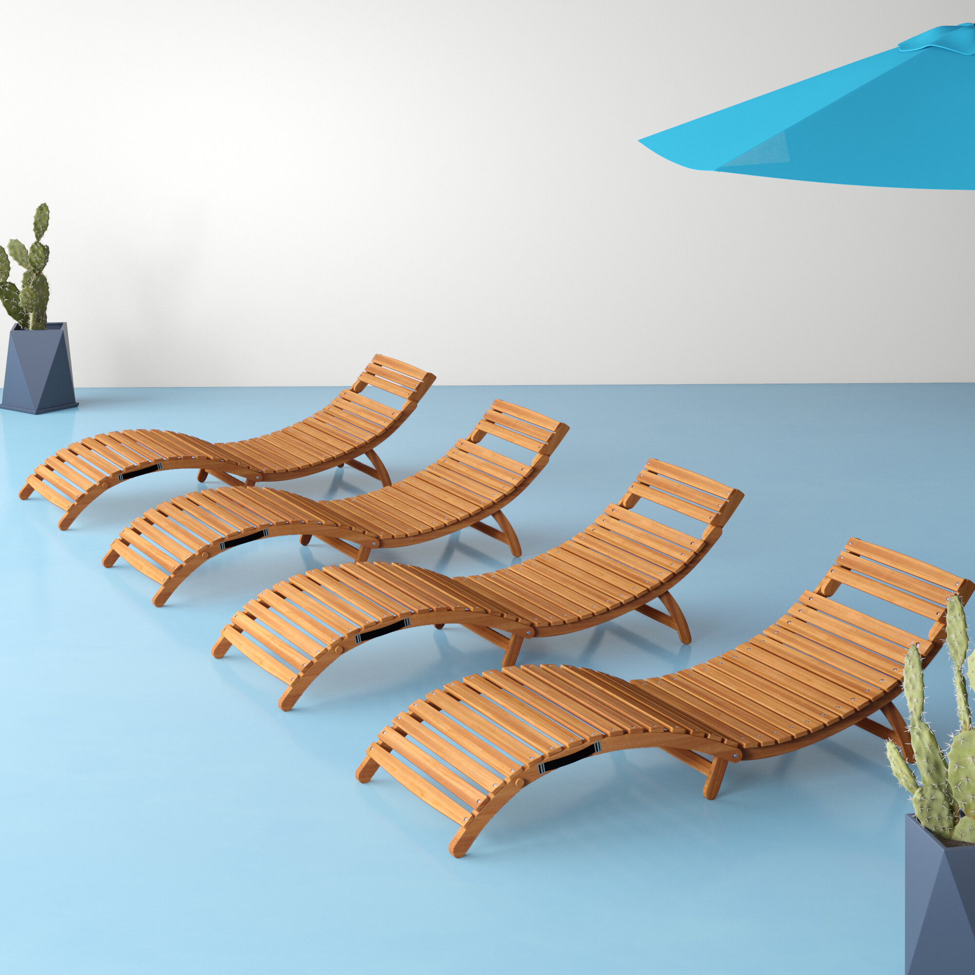 Nastya Folding Curved Wooden Reclining Sun Lounger