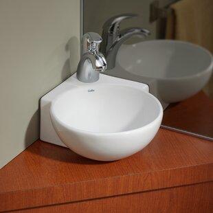 "Vitreous China 12"" Corner Bathroom Sink"