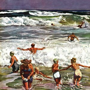 Surf Swimming by John Falter Painting Print on Wrapped Canvas by Marmont Hill