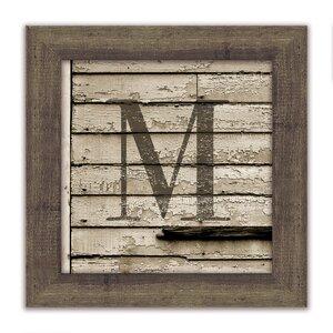 Distressed Wood Monogram Framed Textual Art by Melissa Van Hise