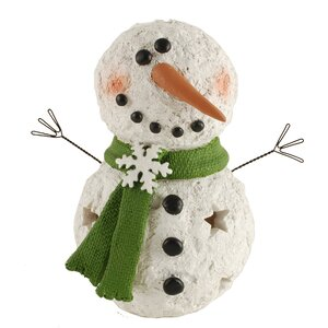 Smiling LED Snowman with Snowflake Scarf Figurine