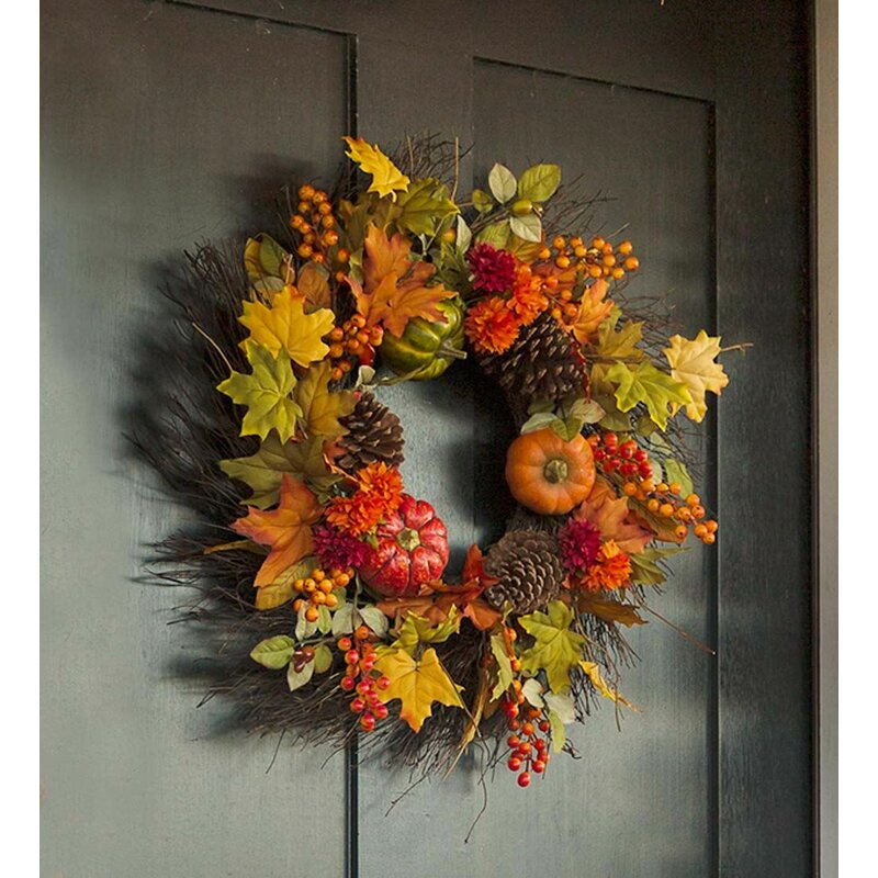 "Pumpkins and Pine Cones Fall 24"" Wreath"