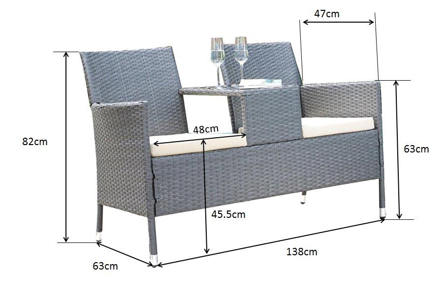 prestington 2 sitzer sofa set aus rattan mit polster bewertungen. Black Bedroom Furniture Sets. Home Design Ideas
