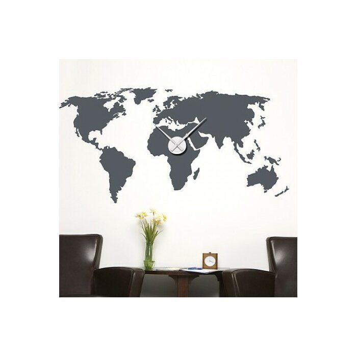 World Map Wall Clock Wall Decal