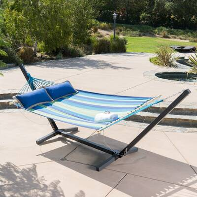 Danby Striped Outdoor Hammock With Wood Stand