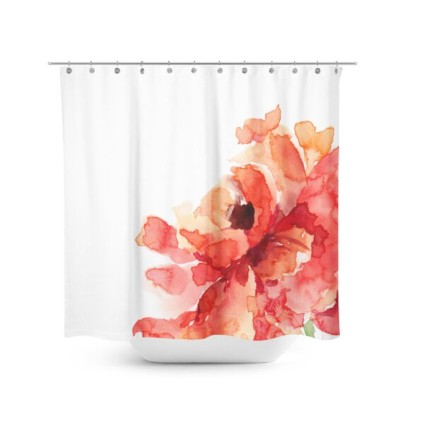orange floral shower curtain.  Best Home Fashion Inc Flower Shower Curtain Reviews Wayfair