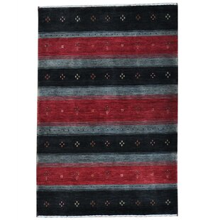 Price comparison One-of-a-Kind Rossman Hand-Knotted 4' x 6' Wool Black Area Rug ByLoon Peak