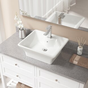 Reviews Vitreous China Rectangular Vessel Bathroom Sink with Faucet and Overflow ByMR Direct