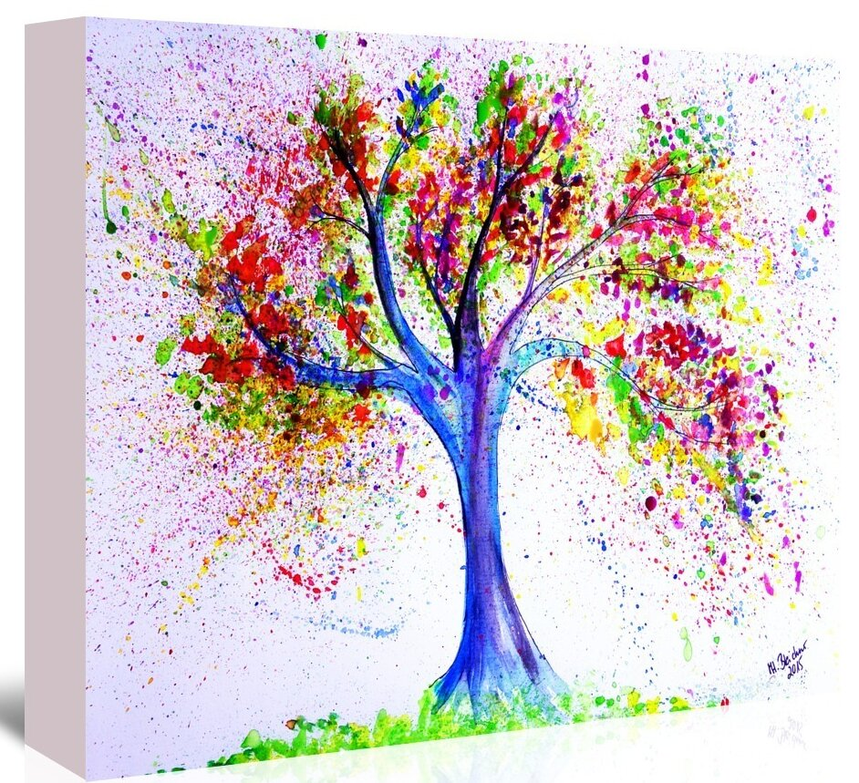 East Urban Home Tree Of Life Painting On Wrapped Canvas Reviews Wayfair
