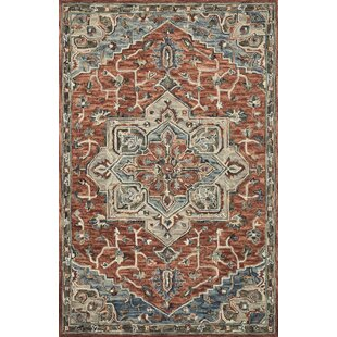 Goncalo Hand-Hooked Wool Red/Beige Area Rug by World Menagerie