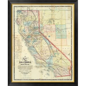 'New Map of The State of California and Nevada Territory, 1863' by Leander Ransom Framed Graphic Art on Canvas by Global Gallery