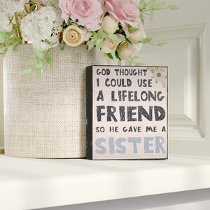 'Lifelong Friend Sister' Textual Art by Andover Mills