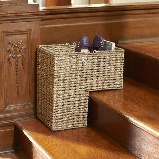 Stair Step Sea Grass And Corn Husk Wicker Basket