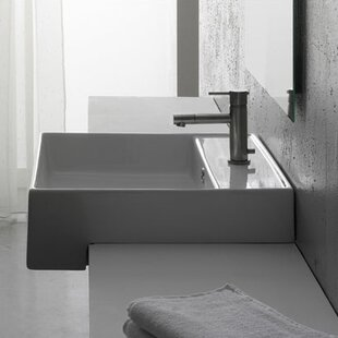 Teorema Ceramic Square Vessel Bathroom Sink with Overflow ByScarabeo by Nameeks