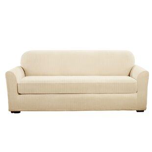 Stretch Pinstripe Box Cushion Sofa Slipcover