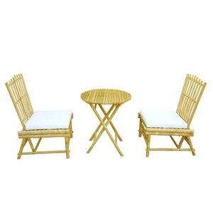 Bamboo 3 Piece Dinning Set with Cushion