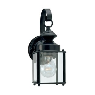 Compare prices Hilliard 1-Light Outdoor Wall Lantern By Breakwater Bay