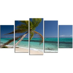 'Palm Bent to Picturesque Seashore' 5 Piece Photographic Print on Wrapped Canvas Set by Design Art