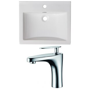 Check Prices 1 Hole Ceramic Rectangular Drop-In Bathroom Sink with Faucet and Overflow By American Imaginations