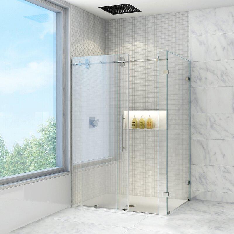 VIGO Winslow 36 x 60-in. Frameless Sliding Shower Enclosure with ...