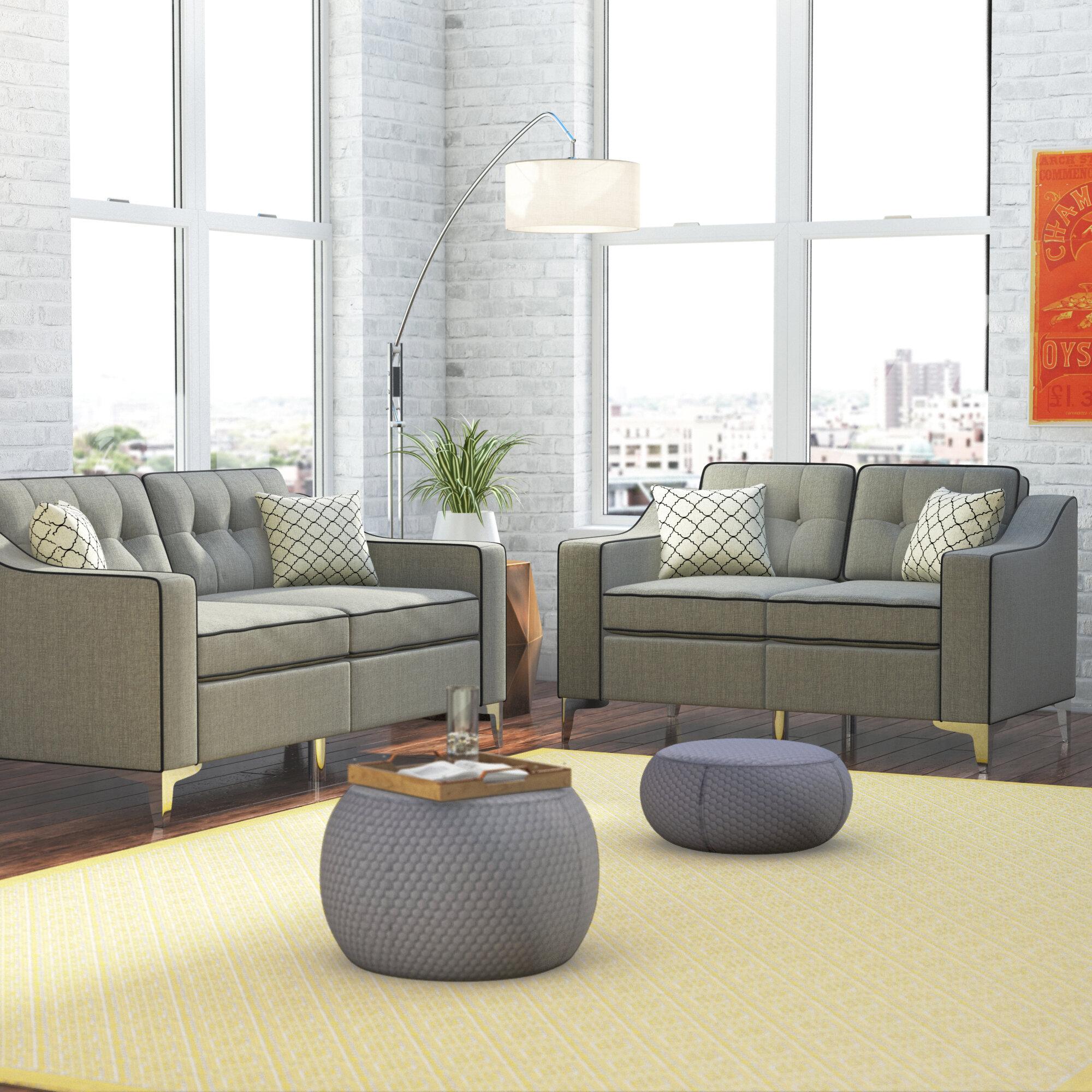 Ebern Designs Fleek 2 Piece Living Room Set U0026 Reviews | Wayfair