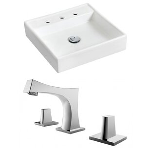 Comparison Ceramic 18 Wall Mount Bathroom Sink with Faucet and Overflow By Royal Purple Bath Kitchen