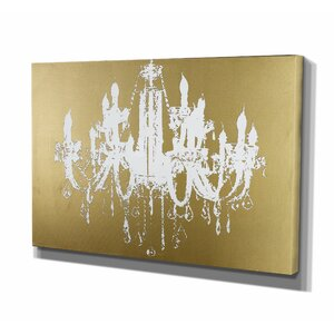 Golden Champagne Diamond Chandelier Graphic Art on Wrapped Canvas by Wexford Home