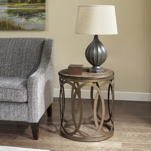 Bleich Round End Table by Ivy Bronx
